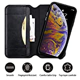 iPhone Xs Wallet Case, Detachable Genuine Leather Folio Case, Jisoncase Magnetic Flip Cover Cases with RFID Blocking Card Holder & Kickstand Feature, Black Removable Wallet Cover for iPhone X & XS