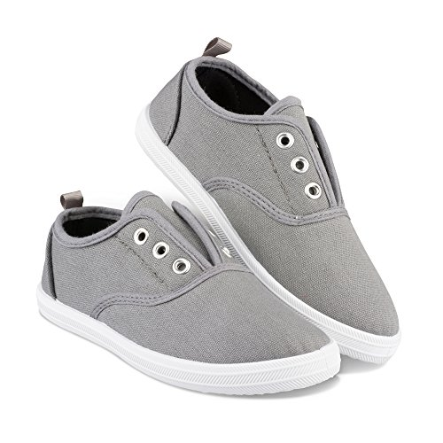 Girls Canvas Shoes - Chillipop Slip-On Laceless Fashion Sneakers for Girls, Boys, Toddlers & Kids Grey
