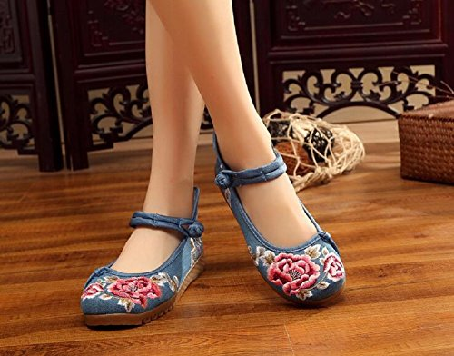 Lady Mary Blue Chinese Party Style Shoes Jane Casual Women Wedges Platform Lazutom Embroidery Dress 1RqgwO