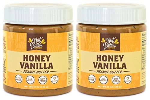 Nut Butter Nation Honey Vanilla Peanut Butter, Natural Creamy, 12 Ounce Jar (Pack of 2)