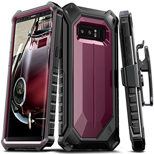Samsung Galaxy Note 8 Case, ELV Premium Holster Belt Clip Rugged Case Kickstand Samsung Galaxy Note 8 (Burgundy/Black)