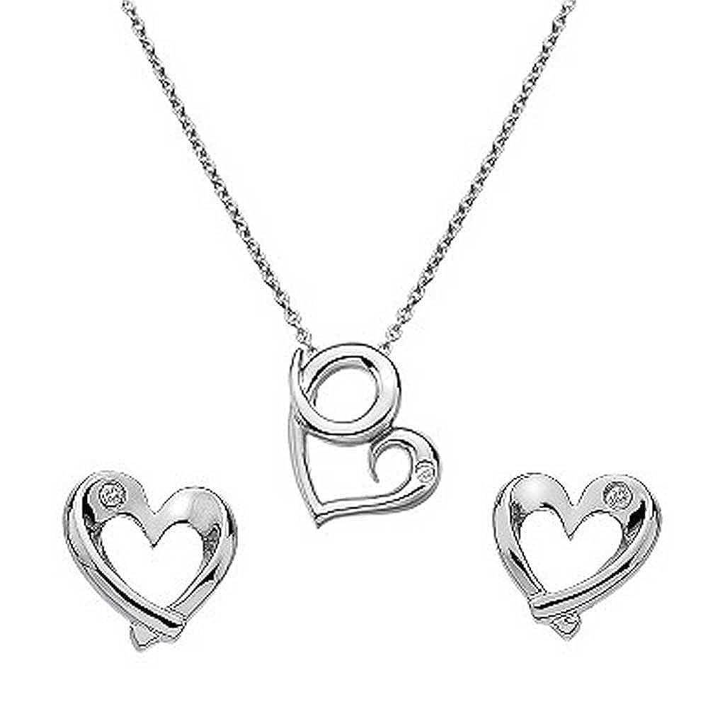 findout Sterling Silber Diamant-Herz-Anhänger Halskette + Ohrringe Set (f1433)
