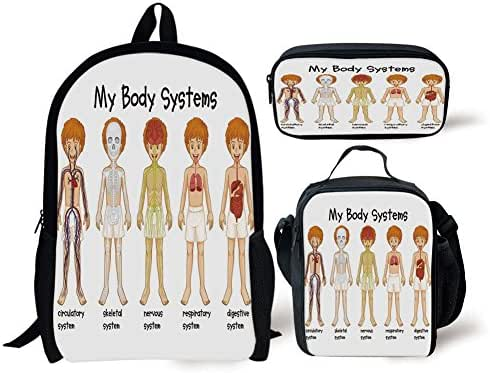 iPrint School Lunch Pen,Educational,Different Systems in Human Nervous Skeletal Digestive Body Anatomy Young Kids,Multicolor,Bags