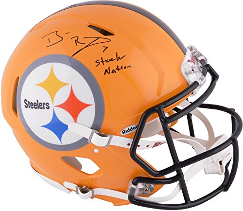 Autographed Authentic Pro Line Helmet (Ben Roethlisberger Pittsburgh Steelers Autographed Riddell Pro-Line Speed Helmet with Steeler Nation Inscription - Fanatics Authentic Certified)