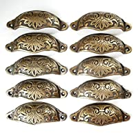 """10 Ornate Apothecary Cabinet Drawer Cup Pull Handles Antique Victorian Style 3-1/2""""cntr #A1"""