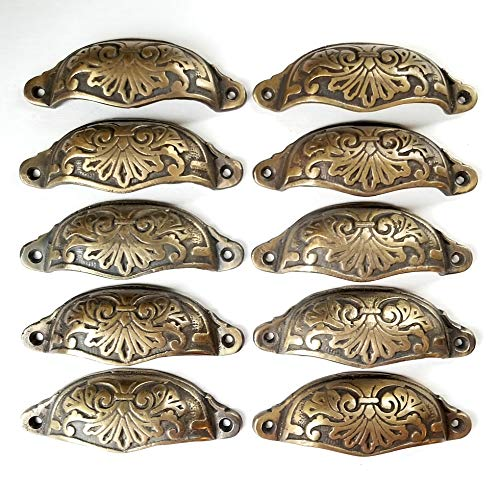 10 Ornate Apothecary Cabinet Drawer Cup Pull Handles Victorian Style 4 1/8