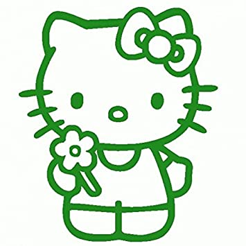 Hello Kitty-Pegatinas Prespaziato-- 10 cm, color Verde