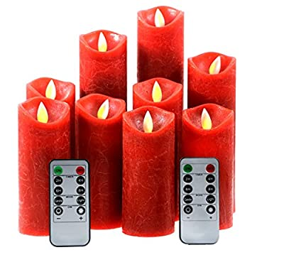 Kitch Aroma Red flameless Candles, Battery Operated LED Pillar Candles with Moving Flame Wick with Remote Timer,Pack of 9