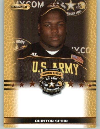 Quinton Spain OL - Petersburg High School Petersburg VA - 2010 Razor US Army All-American Bowl Promo Football Card (Limited to 800)