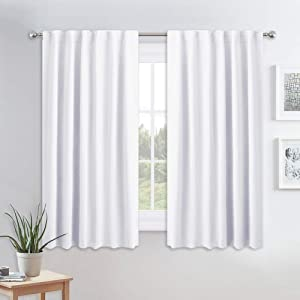 PONY DANCE Kitchen Curtains White - Thermal Insulated Draperies Light Filter Curtain Decorative Drapes with Back Tab Energy Saving for Kitchen, 52 Wide x 54 Long, Pure White, 2 Panels