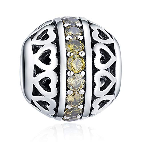 August Birthstone Charms Olivine Crystal Charm Beads 925 Sterling Silver Charms for Bracelets, Birthday Gift for Women Girls