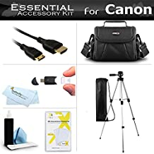 """Essential Accessory Kit For Canon VIXIA HF R700, HF R72, HF R70, HF G20, HF G30, HF G40, HF R62, HF R60, HF R600 Camcorder Includes 50"""" Tripod + Deluxe Case + Mini HDMI Cable + More"""