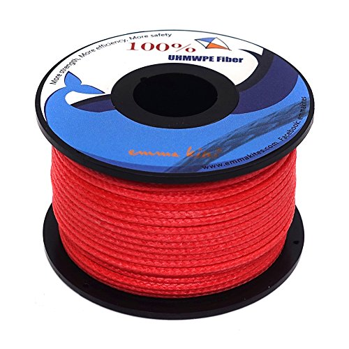 emma kites Red UHMWPE Braided Cord High Strength Least Stretch Tent Tarp Rain Fly Guyline Hammock Ridgeline Suspension for Camping Hiking Backpacking Survival Recreational Marine Outdoors 100Ft 1000Lb ()