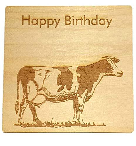 Tarjeta de vaca - Feliz cumpleaños - Tarjeta de madera ...