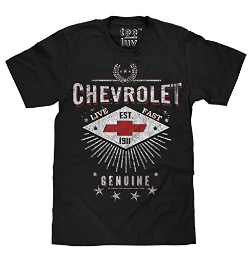 Tee Luv Chevrolet Live Fast Licensed Men's T-Shirt-XX-Large  Black