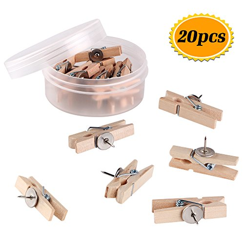 Push Pins with Wooden Clips Thumb Tacks Office Thumbtack Map Pushpins for corkboard Decorative Artworks Notes Photos and Craft Projects 20 Pack