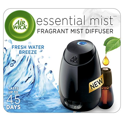 (Air Wick Essential Oils Diffuser Mist Starter Kit (Gadget + 1 Refill), Fresh Water Breeze, Air Freshener)