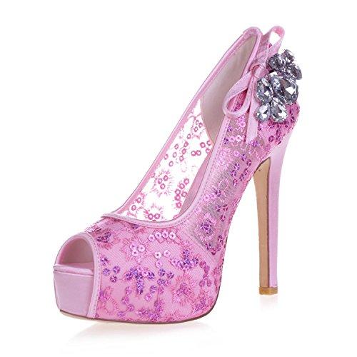 Escondidas Pie Nupciales Cordón Del De Rhinestone Pink Mujeres Dedo Tacones yc Bomba Satén 35 Zapatos 3128 Mira L Las Que Altos A La vUR6F
