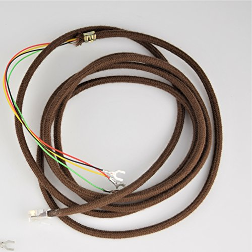 Cloth Covered Telephone Line Phone Cord - Brown - Spade to Modular