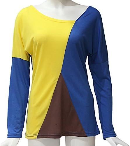 YUNY Womens Split-Hem Crew Neck Autumn Loose Pullover Long-Sleeve Sweatshirts Gray M