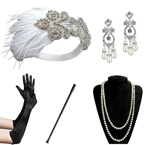 BABEYOND 1920s Flapper Accessories Set Gatsby Costume Accessories 20s Flapper Headband Pearl Necklace Gloves Cigarette Holder (Set-20)]()