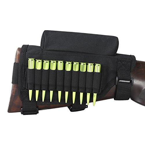TOURBON Rifle Buttstock Sleeve with Cheek Rest, Shell Cartridge Holder, No Padding - Black