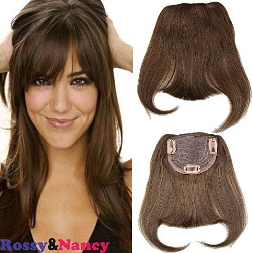 Rossy&Nancy #4 Brazilian Human Hair Clip-in Hair Bang Full Fringe Short Straight Hair Extension for women 6-8inch