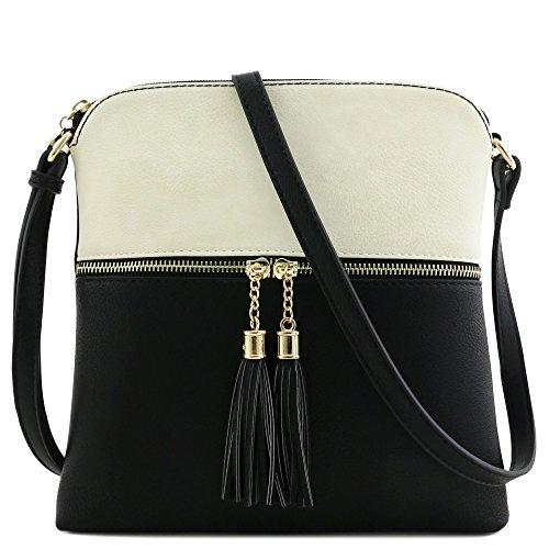 - Tassel Zip Pocket Crossbody Bag (Beige/Black)