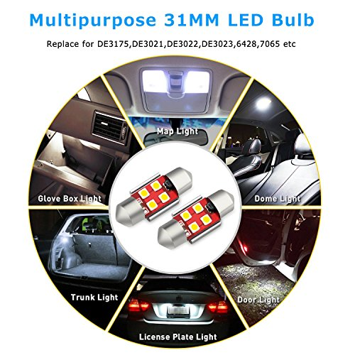 AUXITO-Extremely-Bright-CANBUS-Error-Free-4-SMD-3030-Chipset-31mm-125-DE3175-DE3021-Festoon-Xenon-White-LED-Bulbs-Replacement-for-Map-Dome-License-Plate-Lights-Lamps-Pack-of-4
