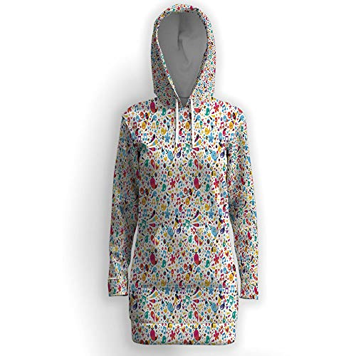 iPrint Hooded Tunic Sweatshirt with Pockets,Music ()