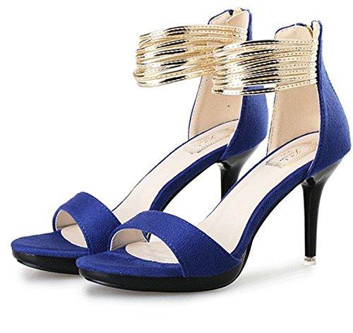 High Schuhe Mund Fashion Blue Open Sandalen Toe Damen Fisch Quaste Heel AwtABzWq