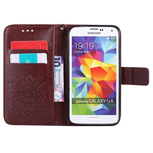 Carcasas y fundas Móviles, Para Samsung Galaxy S5 Funda, Sun Flower Diseño de la impresión PU Leather Flip Cartera Lanyard Funda protectora con ranura para tarjeta / Soporte para Samsung Galaxy S5 ( C Brown
