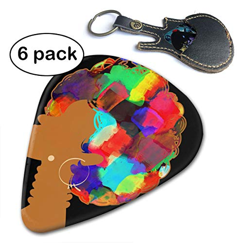 (Paulino 6 Pack African Woman Curly Hair Guitar Picks Classic Picks, Unique Guitar Gift for Bass, Electric & Acoustic Guitars)