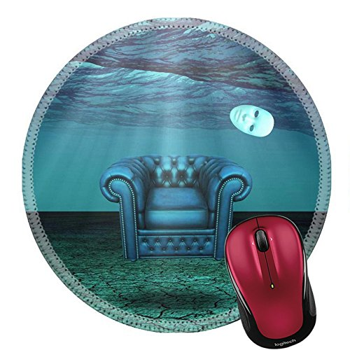 Price comparison product image Liili Mouse Pad Natural Rubber Round Mousepad White Mask and armchair floats in underwater desert Image ID 21639590
