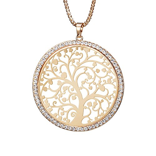 Fashion Women's Necklace,Celtic Tree of Life Pendant Necklace for Girls Long Chain Coat Necklace with CZ Crystal Shining Rhinestone Necklace (Gold Plated Tree of Life)