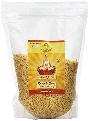 Organic Moong Dal Mogar (Green Gram Split Dehusked) 2 Lbs by Vedica Organics