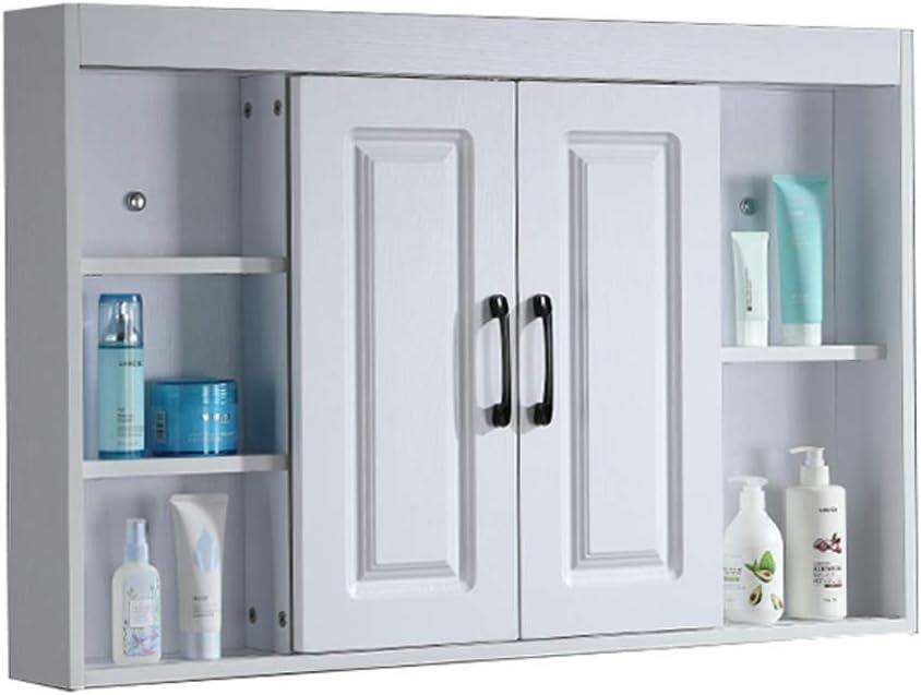 White Bathroom Mirror Cabinet Wall Mounted Wooden Cupboard Unit Shelf
