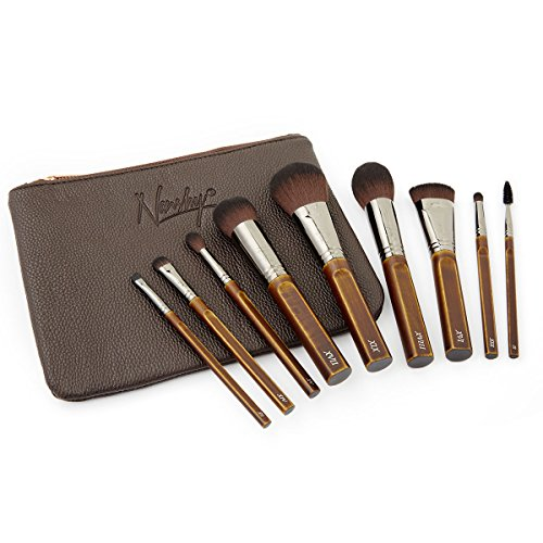 Nanshy Necessities Collection Makeup Brush Set with Bag High End Luxury Vintage Handmade Natural Beechwood Brushes 100% Cruelty-Free & Vegan