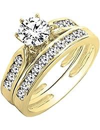 0.95 Carat (ctw) 14K Gold Round Diamond Ladies Bridal Engagement Ring Set With Matching Band 1 CT