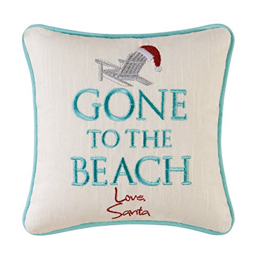 Gone to the Beach, Love Santa Christmas Pillow, 10 Inches Square by C&F Home
