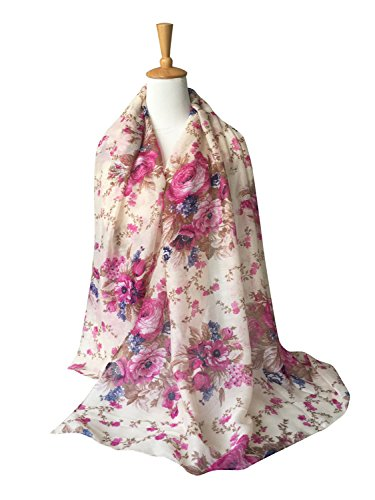 GERINLY Lightweight Shawl Scarf: Peony Print Beach Wrap For Hawaiian Vacation (Beige)