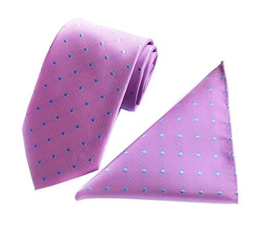 Men's Pink Blue Dot Ties Cravat Woven Fashion Neckties for Formal Dress Gift Set (Necktie Silk Pink)