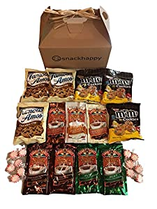 Hot Cocoa & Cookies Care Package features attractive Kraft Gift Box stuffed with cocoa, cookies, and peppermint candy, the perfect gift for college student, military, co-worker
