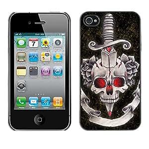 Be Good Phone Accessory // Dura Cáscara cubierta Protectora Caso Carcasa Funda de Protección para Apple Iphone 4 / 4S // Rock Roll Fire Dagger Skull Death Music