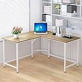 ELEGANT Computer Desk 55'' x 55'' with 24'' Deep L-Shaped Desk Corner Workstation (Oak)