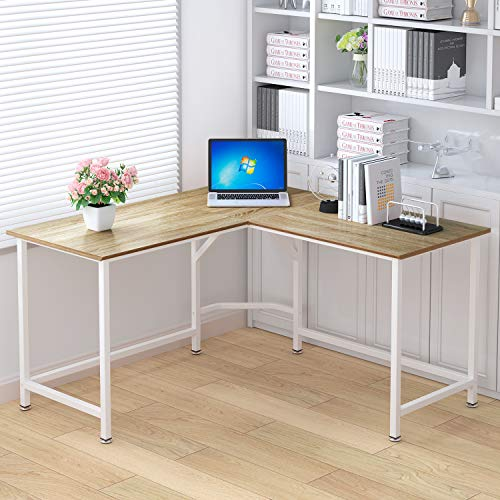 ELEGANT Computer Desk 55 x 55 with 24 Deep L-Shaped Desk Corner Workstation Oak