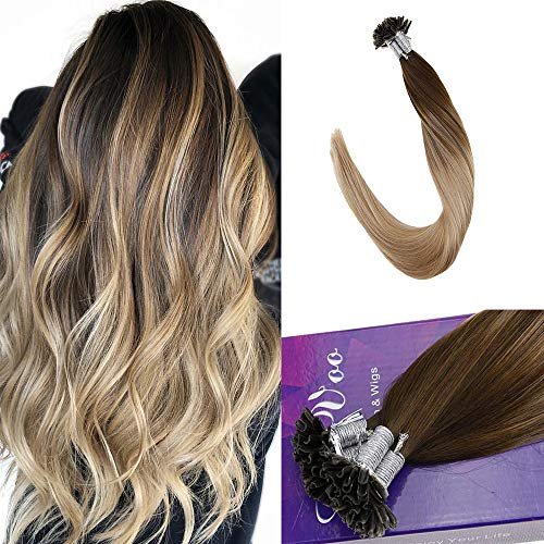 LaaVoo 18 inch Long Remy U Tip Soft Natural Human Hair Exensions For Thick Hair Amazing Color Dark Brown Fading to Ash Blonde and Golden Blonde 1g/s 50g/50strands