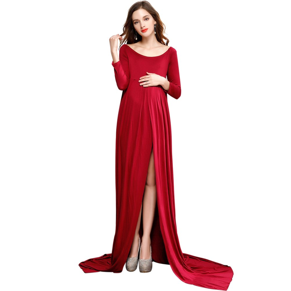 b5052e42074f Maternity Dress, Elegant Women Long Sleeve Soft Split Front Maxi Floor-Length  Dress Gown with Underwear for Indoor / Outdoor / Beach / Pregnant  Photography ...