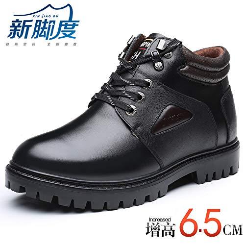 LOVDRAM Stiefel Männer Winter Schnee Herrenschuhe Baumwolle Stiefel Leder Casual Erhöhen Schuhe Erhöht 6.5Cm