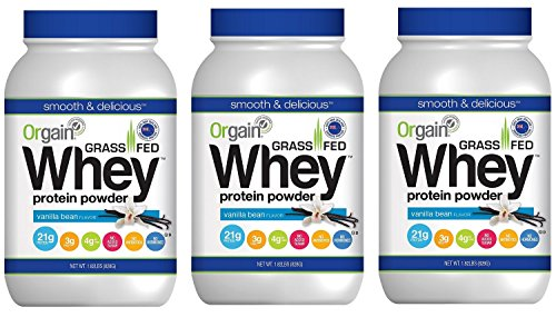 Orgain Grass Fed Whey Protein Powder, Vanilla Bean, 1.82 Lb Pack of 3
